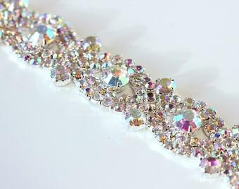Ab crystal trim, Rhinestone Applique, 36'', Applique Rhinestone trim rhinestone applique crystal sash bridal sash headband wedding headpiece