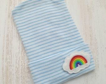 Newborn boy hospital hat- rainbow, rainbow baby, baby boy hospital hat, blue hospital hat, newborn hat, baby boy beanie