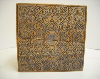 Celtic Spiral Wooden Trinket Box