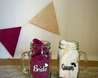 Bride and Groom mason jars, wedding gift, rustic jars, couple gift