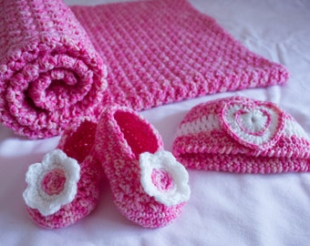 Crochet Baby Blanket, Beanie and Booties set - Pink