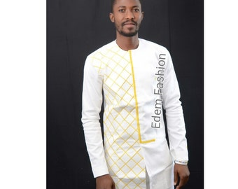 White and gold African clothing, dashiki, dashiki shirt, African fashion birthday gift, African style wedding suit, mens outfit.