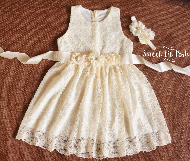Ivory Lace Girls Dress Flower Girl Dress Lace Flower Girl