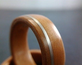 Bentwood Ring - Tasmanian Myrtle with silver wire inlay - Handcrafted