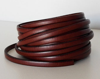 Cognac leather band 5mm sold by 50cm