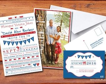 100 Patriotic (United States) Customizable Wedding Invitations, RSVPs & Envelopes