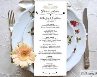 Dinner Menu Template Menu Card Printable Wedding Dinner Menu Template diy Editable Menu Card Instant Download Digital PDF Template SWANS01