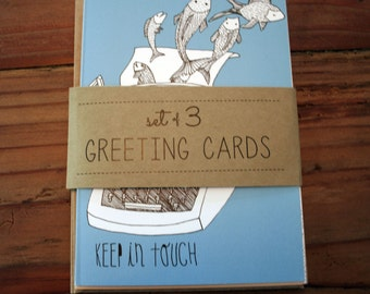 Set of 3 Illustrated Greeting Cards - Keep in Touch - Blank Cards
