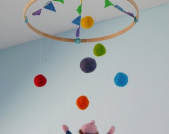 Juggler Felt Mobile, montesssori, waldorf, circus mobile, needle felt, juggler, rainbow mobile, crib mobile, cot mobile, nursery decor