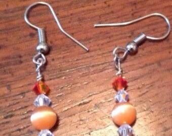 Orange and crystal earrings