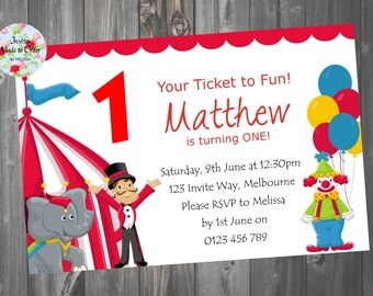Circus Birthday Invitation Boy or Girl with clown and tent
