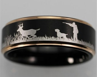 Good Quality Deer Hunting Scene Ring Black With Rose Gold Step Tungsten Comfort Fit Design