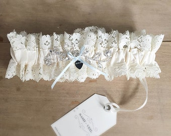 Anna Ivory Silk + Vintage Lace Bridal Garter - Wedding Accessories - Bridal Lingerie