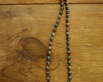 Ladies ceramic earth beaded necklace (with dark wood beads)