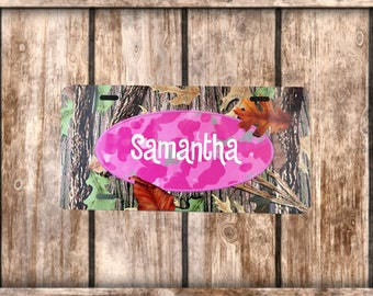 Camo And Pink Car Tag-Name or Monogram