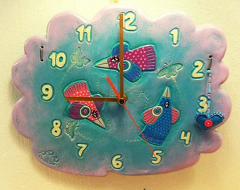 """Wall Clock for Children and Babies """"Birds"""" Clock for Baby Room Children Clock Kid Clock Ceramic Handmade Colorful"""