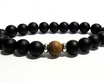 Onyx Bracelet Onyx Jewelry Black Bracelet Gift For Him Mens Beaded Bracelet Tiger Eye Bracelet Protection Bracelet Stretch 10 mm