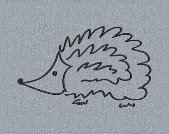 Hedgehog freehand drawing - Machine embroidery design - 3 sizes for instant download