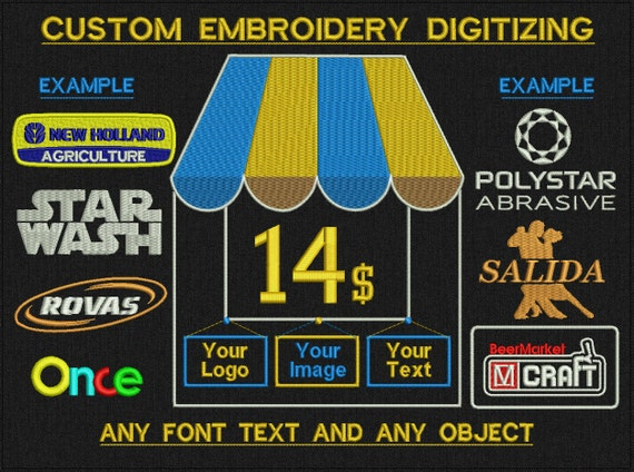Custom Embroidery Digitizing For Machine Embroidery - Any text, any objects, 1 - 3 colors objects