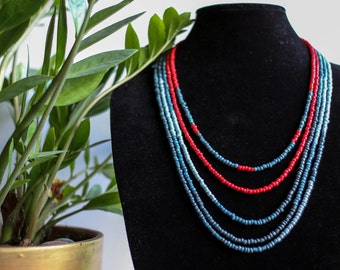 MULTICOLOR  LAYERED , statement necklace , hand made jewelry , red blue navy blue grey necklace , party  , gift for her , saree jewelry