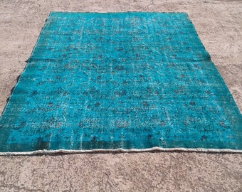 Big sale %50 off Vintage overdyed rug,cotton and wool rug,tribal overdyed rug  6,8x9,3 feet
