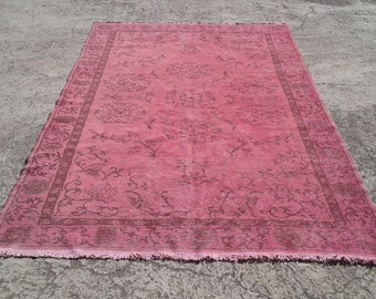 """Big Sale %50 off overdyed rug,anatolian vintage turkish rugs,decorative area rugs,handwoven carpets,natural wool carpet 6'2""""x 9'9""""ft"""
