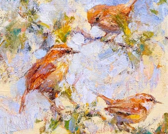 Wren Birds 10x10 Print on Watercolor Paper with Deckled Edge or 8x8 Giclee