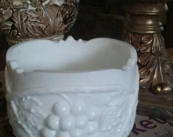 White Milk Glass Bowl With Grape Pattern