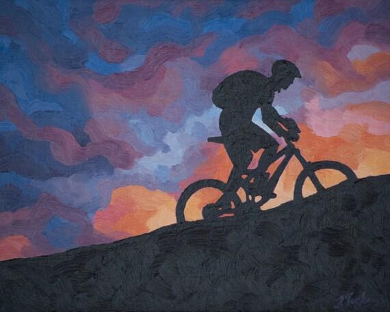 Mountain Bike Art Print Cycling Art Print Velo
