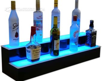 """36"""" 2 Step LED Illuminated Back Bar Liquor Shelves - Free Shipping!"""