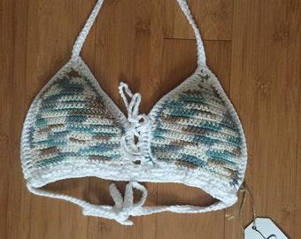 lace up crochet bathing suit top