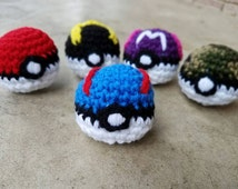 """Crochet Great Ball Pokeball Amigurumi - Stuffed Pokeball in Blue and White with Red Accent - 2.5"""" Diameter - Pokemon Palm Sized Toy"""