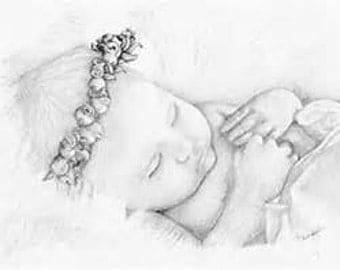 sleeping baby sketch