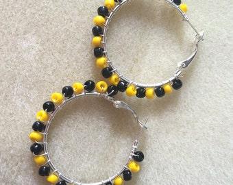 Pittsburg steelers hoop earrings