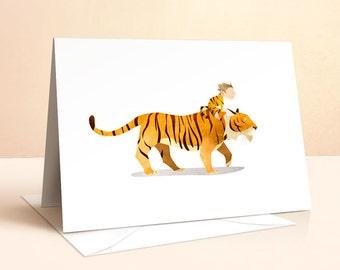 Wild Adventure - Tiger Card | Birthday Card | Kids Birthday | Nursery Art | Greeting Cards | Tiger Print | Tiger Illustration | Art Card