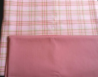 Pink plaid fabric remnants, vintage tea rose color fabric, cotton fabric, quilting fabric, pink and green plaid, tea rose color