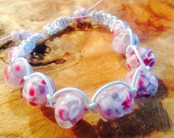 Pink Shambala Style Bracelet on White Leather