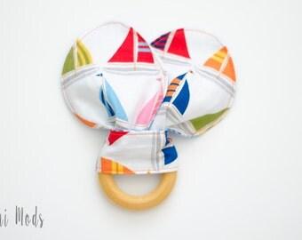 Sail Boat Organic Wood Teething Ring / Teething Toddler / Baby Christmas Gift / Baby Stocking Stuffer / Ready to Ship.