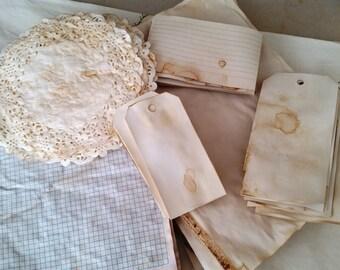 60 Piece Coffee/Tea Dyed Journal Kit - Ephemera, Tags & Doilies....