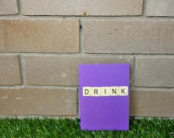 DRINK handmade scrabble card
