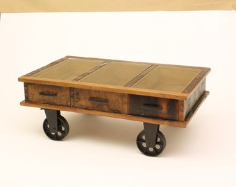 Wood And Glass Wagon Table