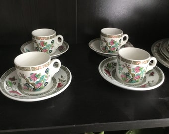Set of Four 'Indian Tree' Espresso Cups & Saucers