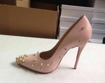 women's heels|custom|gold studs|spike High Heels|pumps
