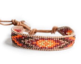 Bracelet indien boheme bobo orange rouge cuir marron