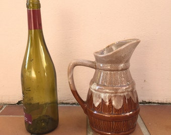 VINTAGE RUSTIC FRENCH country wine cider jug pitcher porcelain 1/2 litter