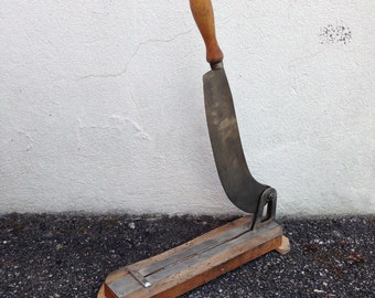 """Vintage French Restaurant Wooden Bread Slicing Board,""""Guillotine"""", Stamped 2"""