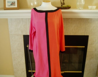 Vintage I Magnin 100 Percent Silk Orange/Pink/Black Dress
