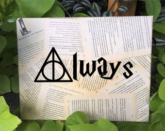Harry Potter Wall Art - J. K. Rowling - Always - Deathly Hallows - Your choice of quote - Book page Wall hanging - Free Shipping in US