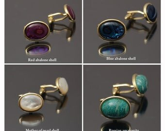 Gold Plated Cufflinks with  Gemstones and Shells