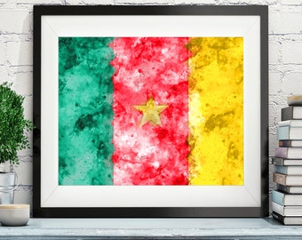 Cameroon Flag Art, Cameroon Flag Print, Flag Poster, Country Flags, Watercolor Painting, Watercolor Flag, Poster, Africa Wall Decor, Gifts